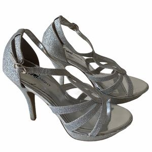 Fioni Night Silver Shimmer Ankle Strap Heels
